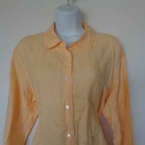 Talbots Yellow Linen Blouse 16W